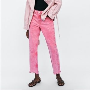 Zara Pink High Rise Straight Leg Jeans